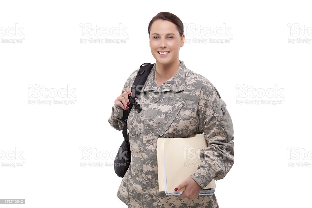 Female soldier with documents and backpack royalty-free stock photo