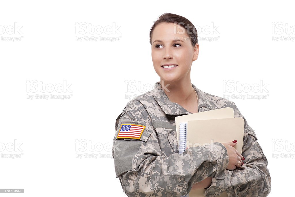 Female soldier with folder looking away royalty-free stock photo