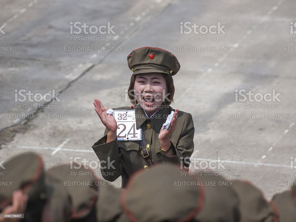 Female soldiers clapping North Korea royalty-free stock photo