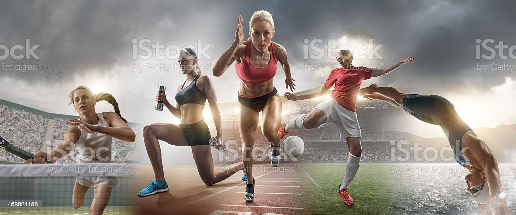 Female Sports Action Superstars stock photo
