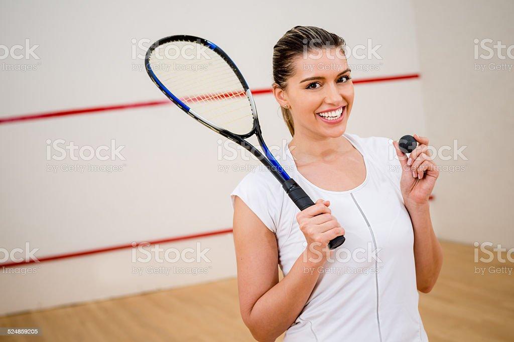 Female squash player stock photo