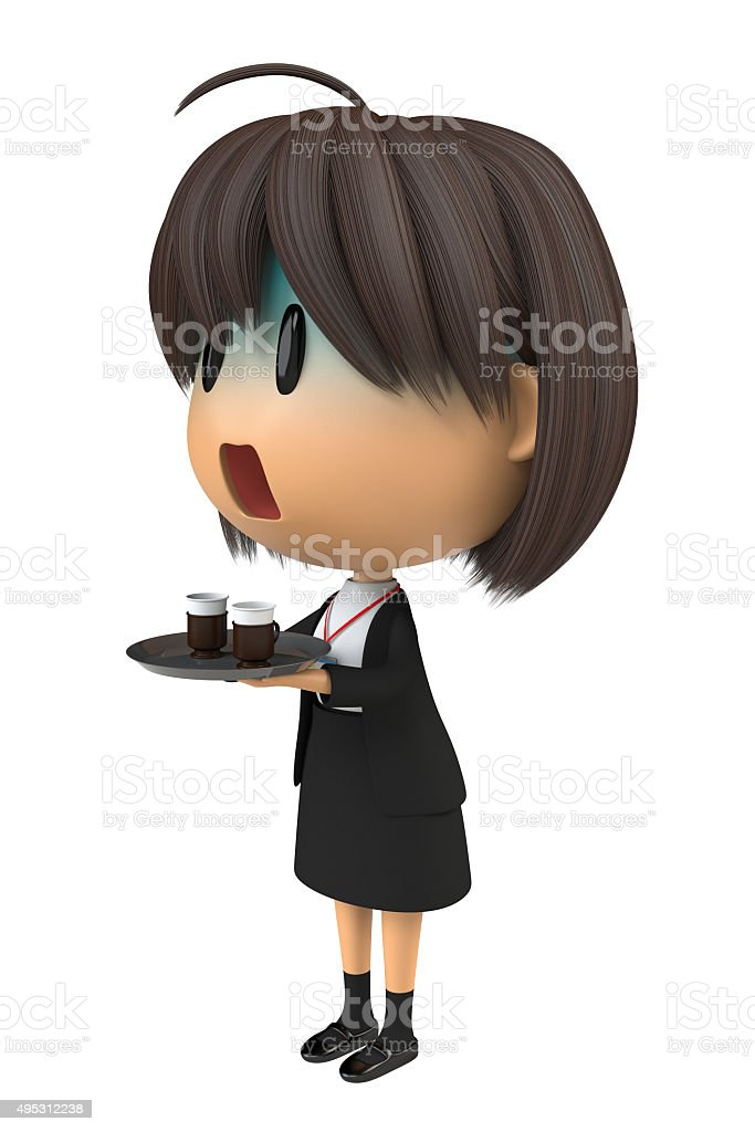 Female staff that pallor to serving the coffee stock photo