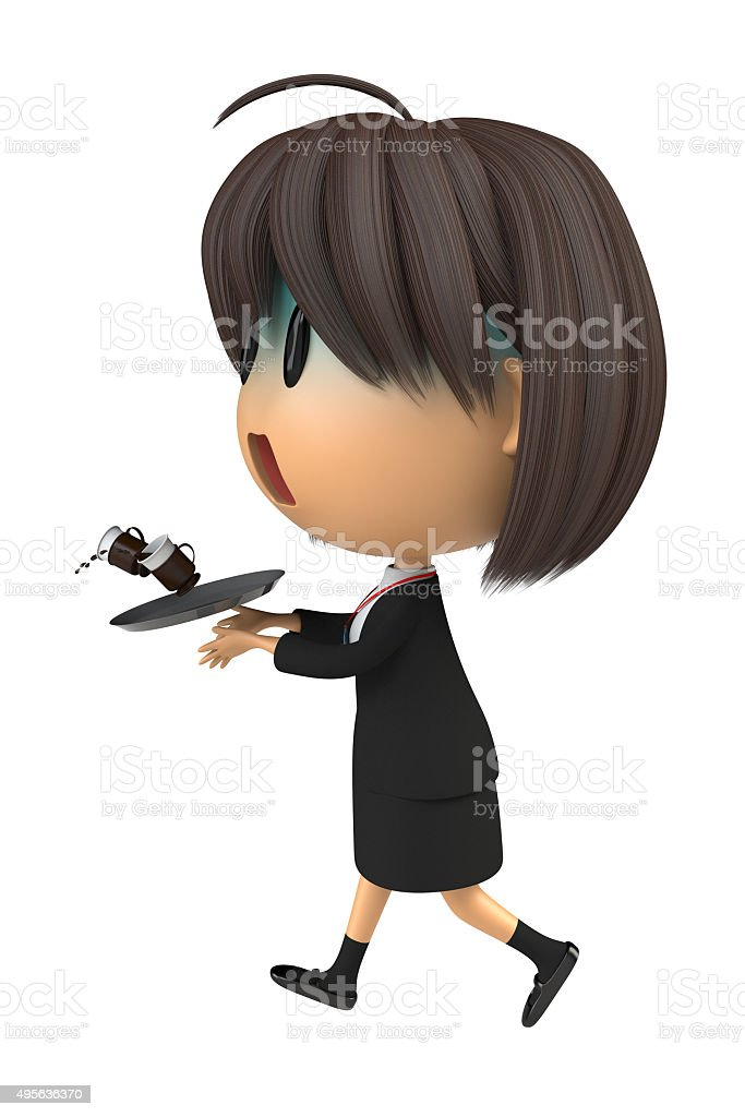 Female staff that pallor to spill the coffee stock photo