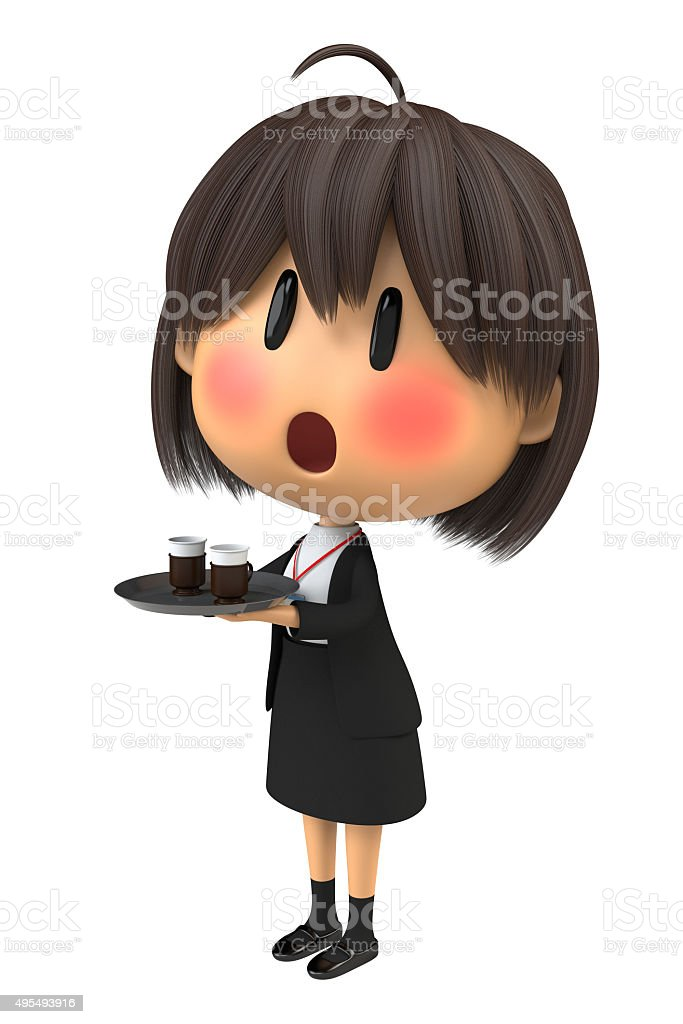 Female staff to blush to serving the coffee stock photo
