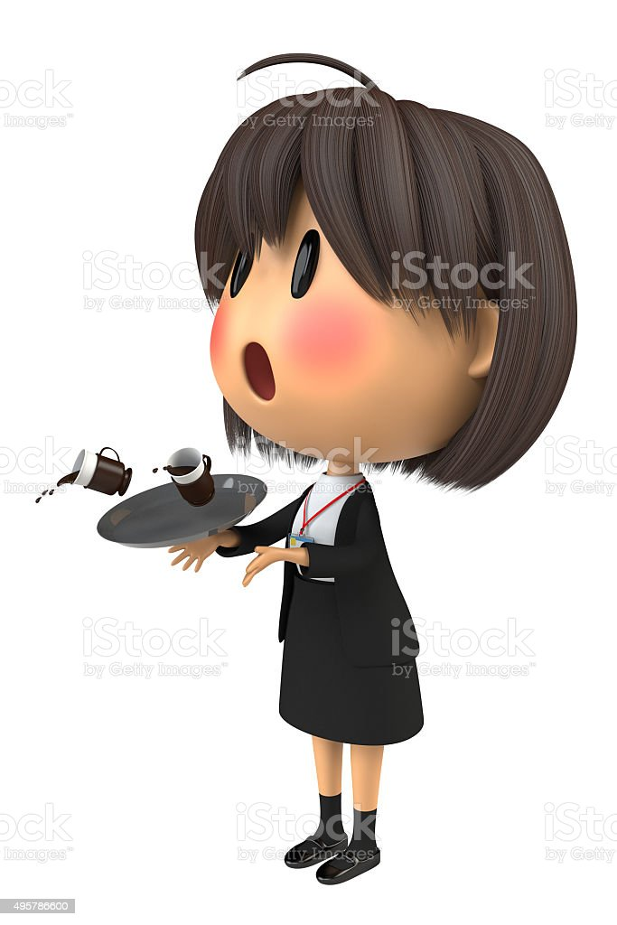 Female staff to blush to spill the coffee stock photo