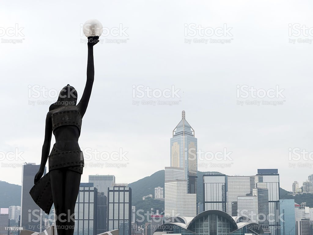 Female statue in Hong Kong stock photo