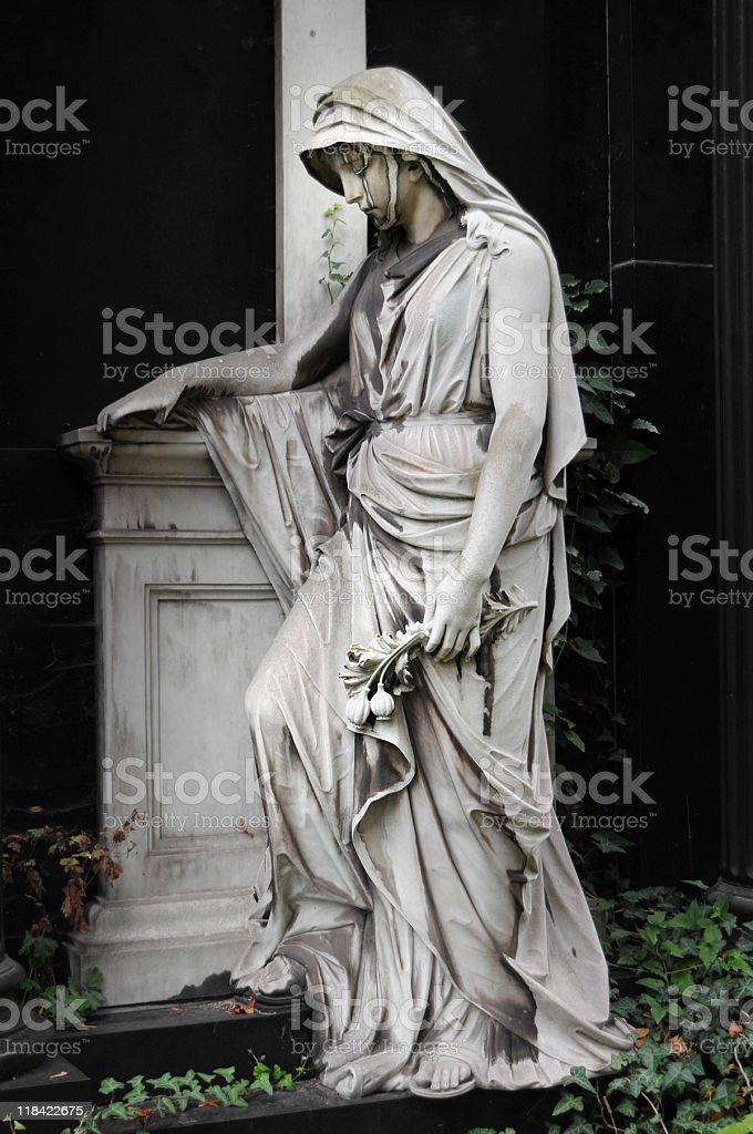 female statue on cemetery royalty-free stock photo