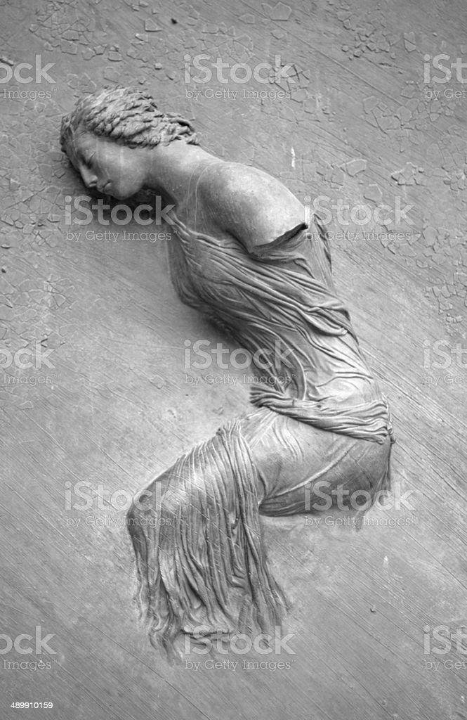 Female Statue On the Door of S. Maria degli Angeli stock photo