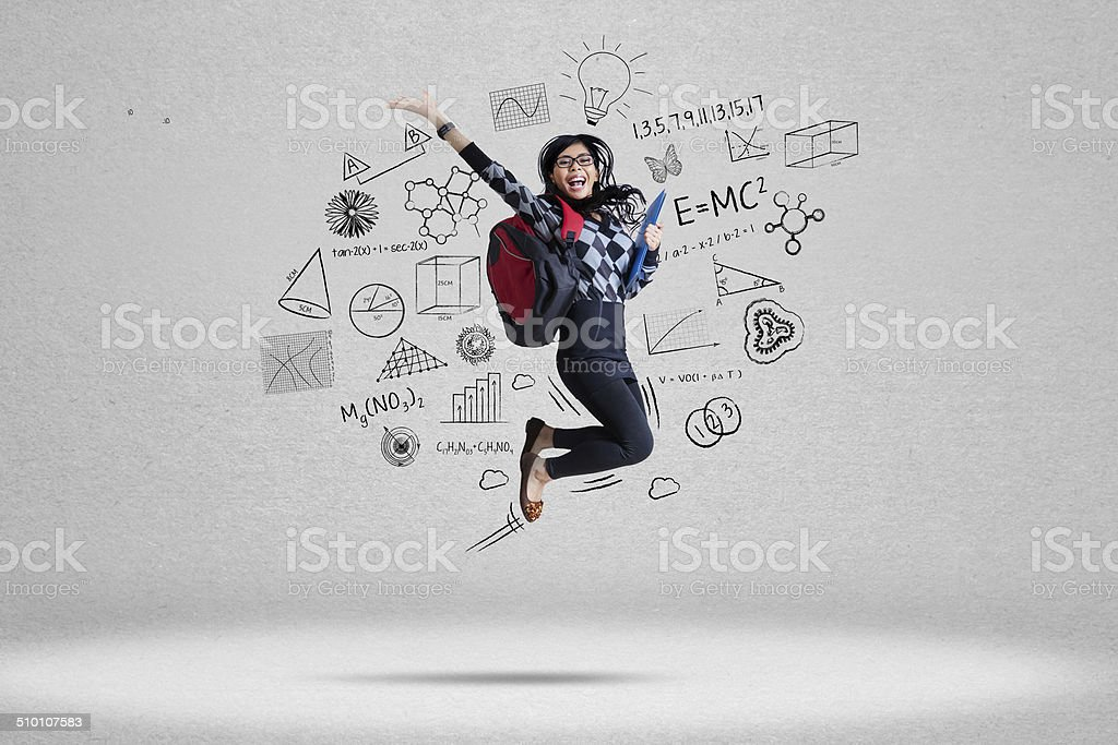 Female student and school doodles 2 stock photo
