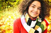 Female student in warm autumn