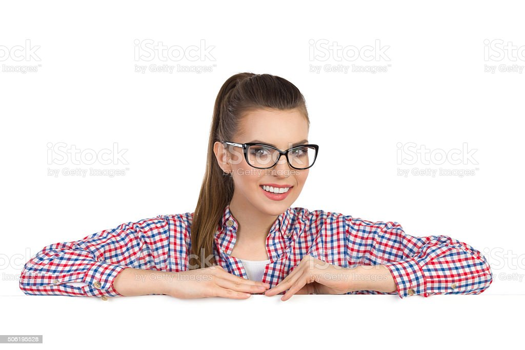 Female Student Leans At Banner stock photo