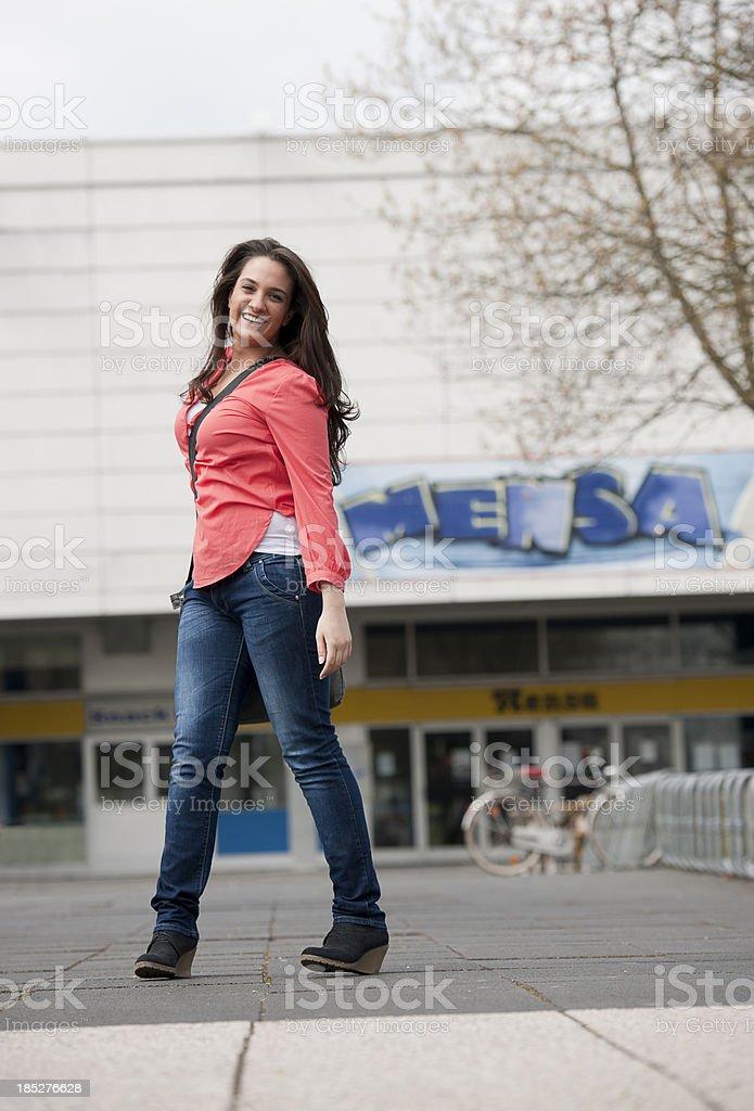 Female student on campus stock photo