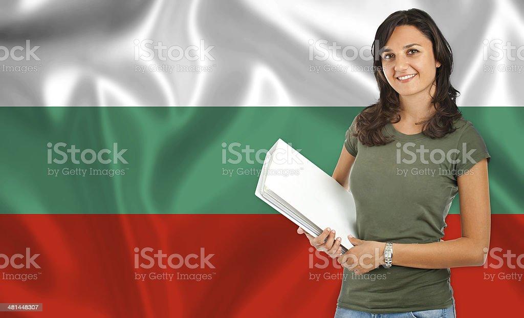 Female student over Bulgarian flag stock photo