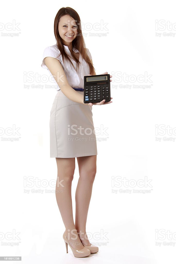 Female student with a calculator in hand. royalty-free stock photo