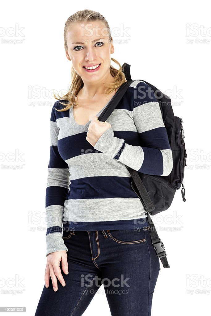 Female Student with Book Bag royalty-free stock photo