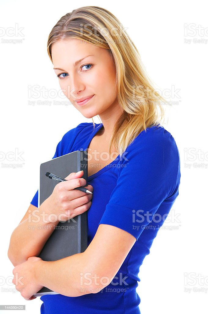 Female student with notebook and pen royalty-free stock photo