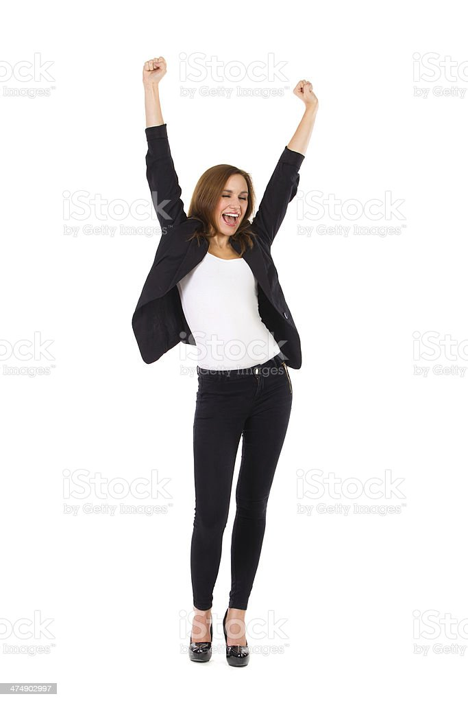 Female student with raised hands shouting. stock photo