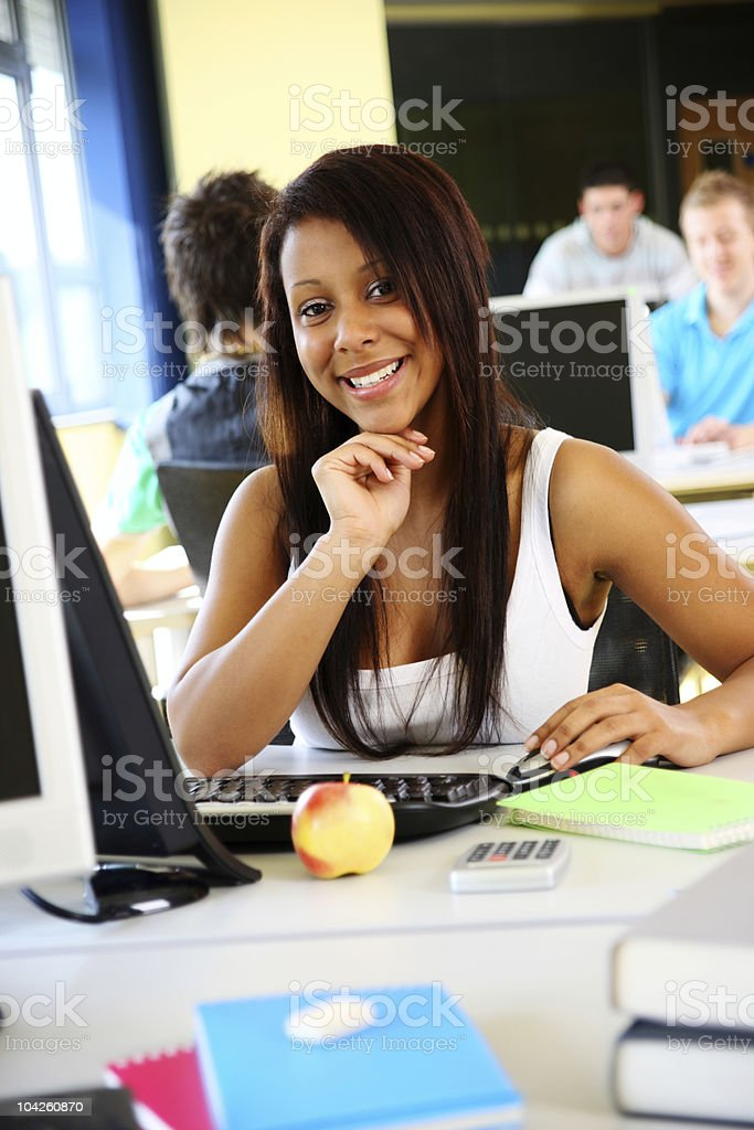 Female student working on computer royalty-free stock photo