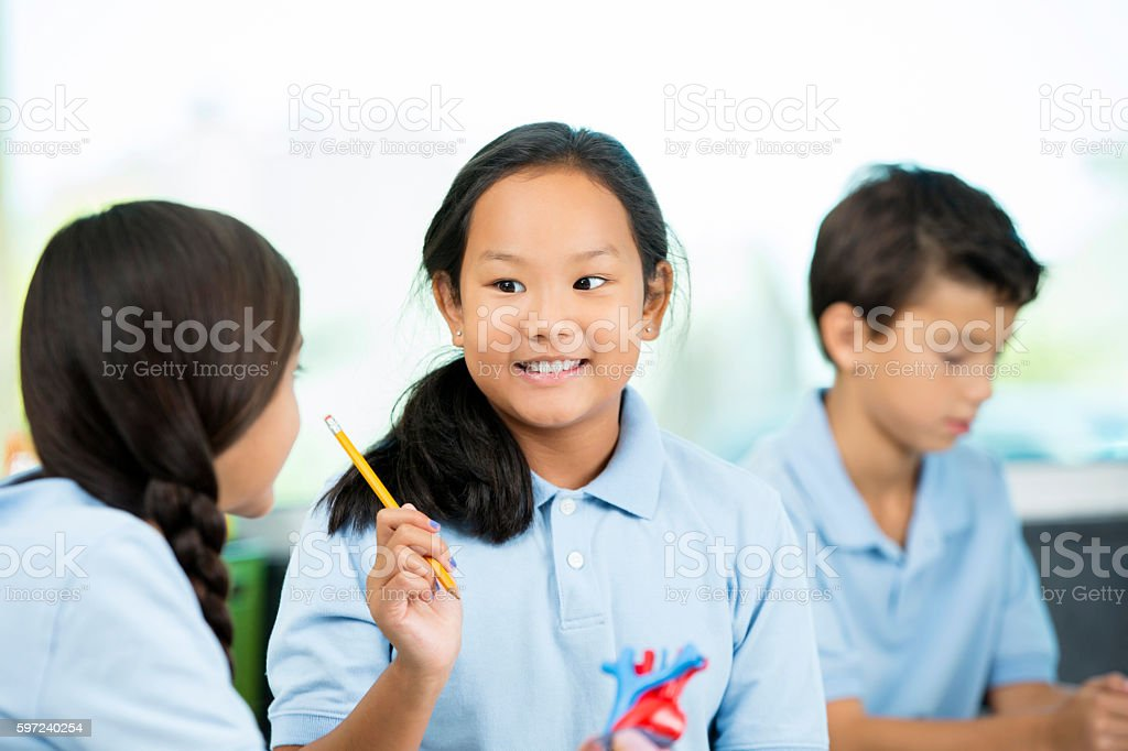 Female student working with classmate on science project stock photo