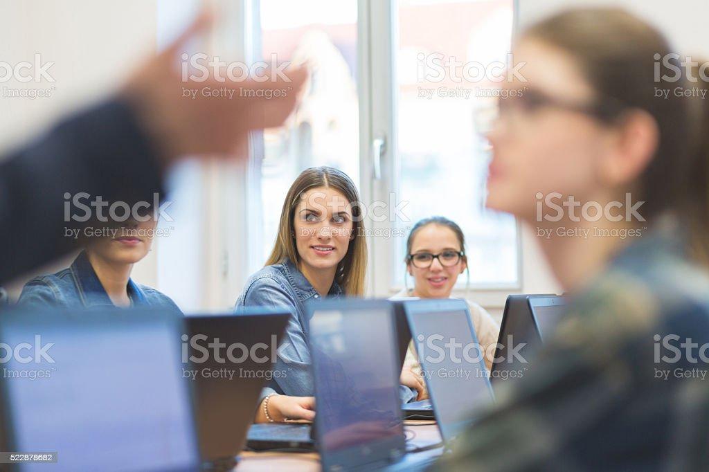 Female students coding stock photo