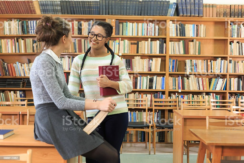 Female students discussing projects at the library stock photo