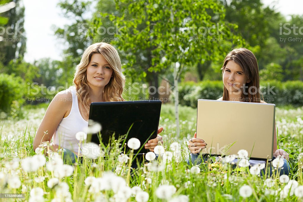 Female students  using laptop  in park stock photo