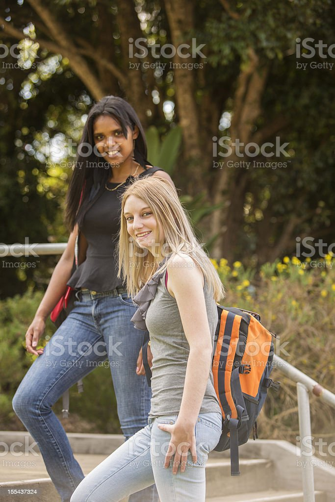 Female Students Walking to Class royalty-free stock photo