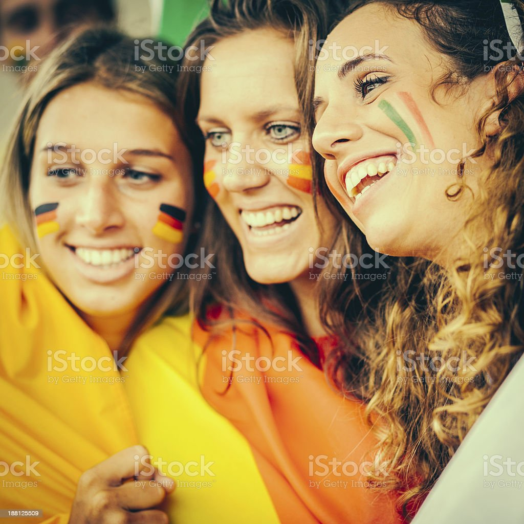 Female Supporters of Different Nationality royalty-free stock photo