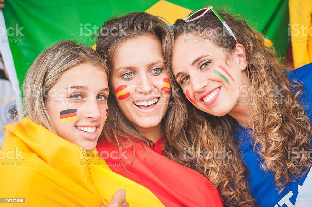 Female Supporters of Different Nationality stock photo