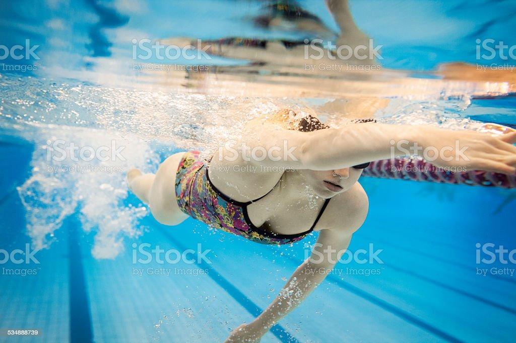 Female Swimmer Underwater stock photo