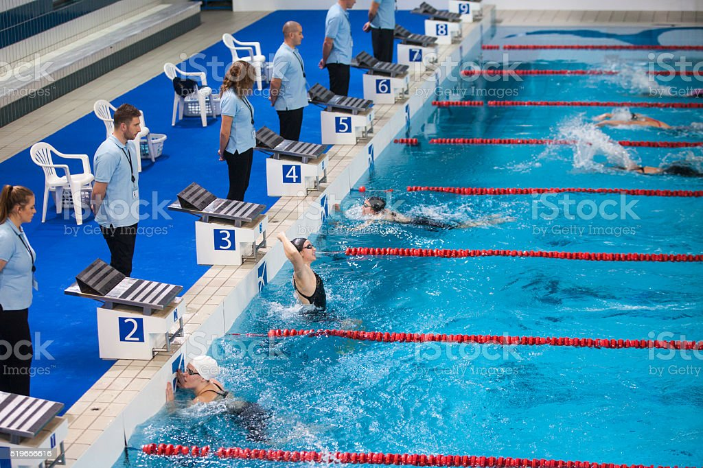 Female swimmers in swimming pool stock photo