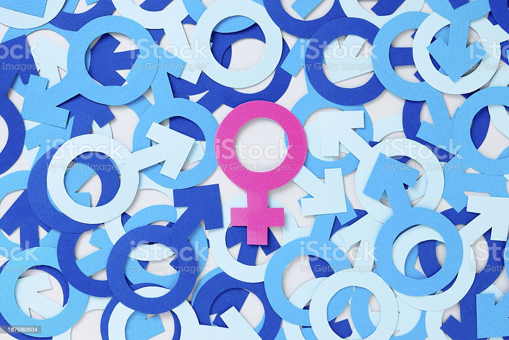Female symbol over male ones stock photo