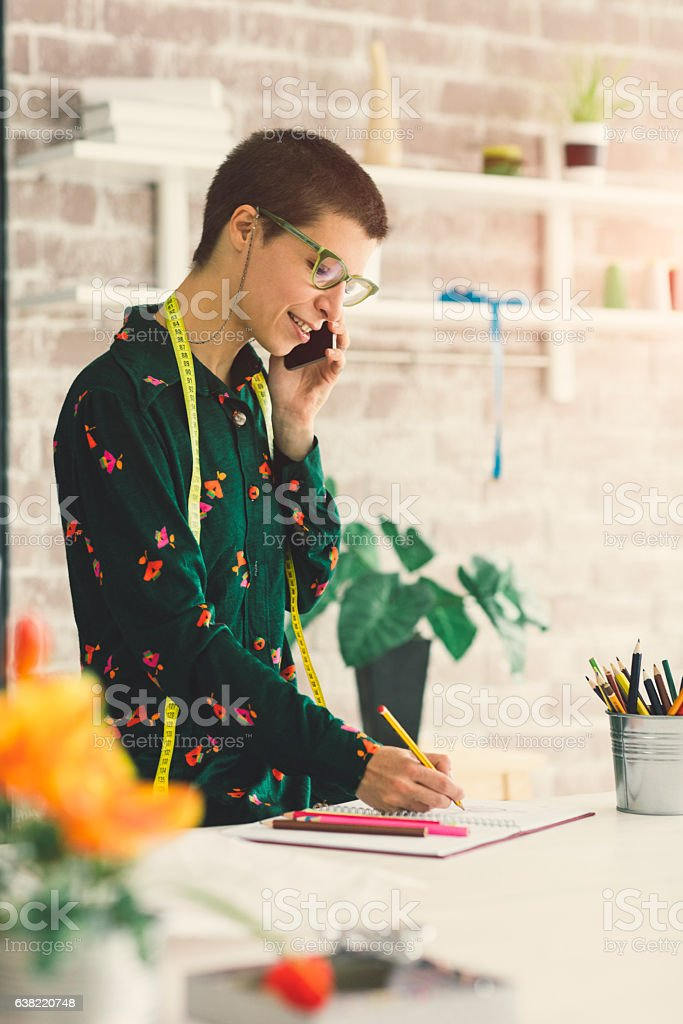 Female Tailor Coloring Book stock photo