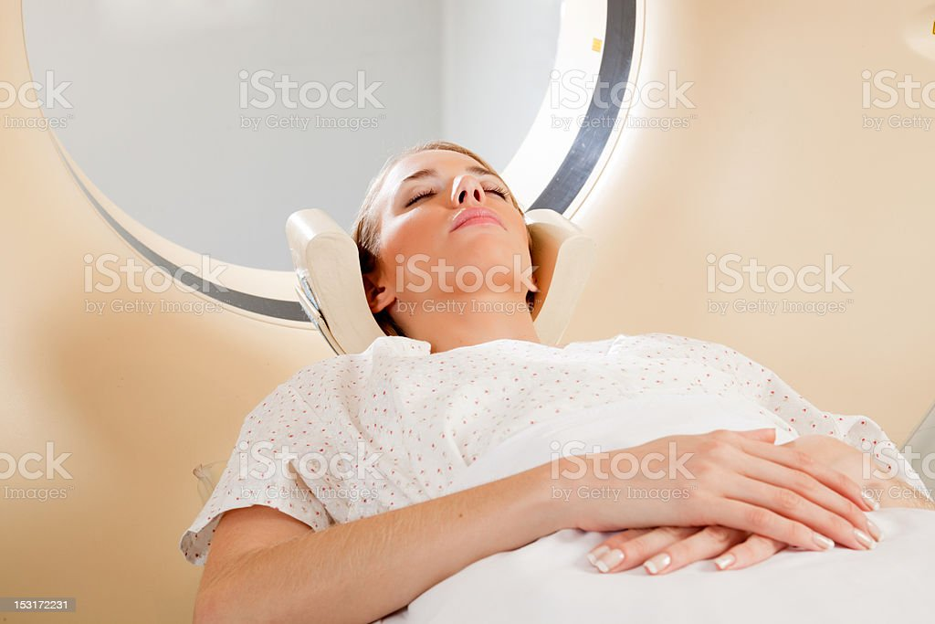 Female Taking CT Scan stock photo