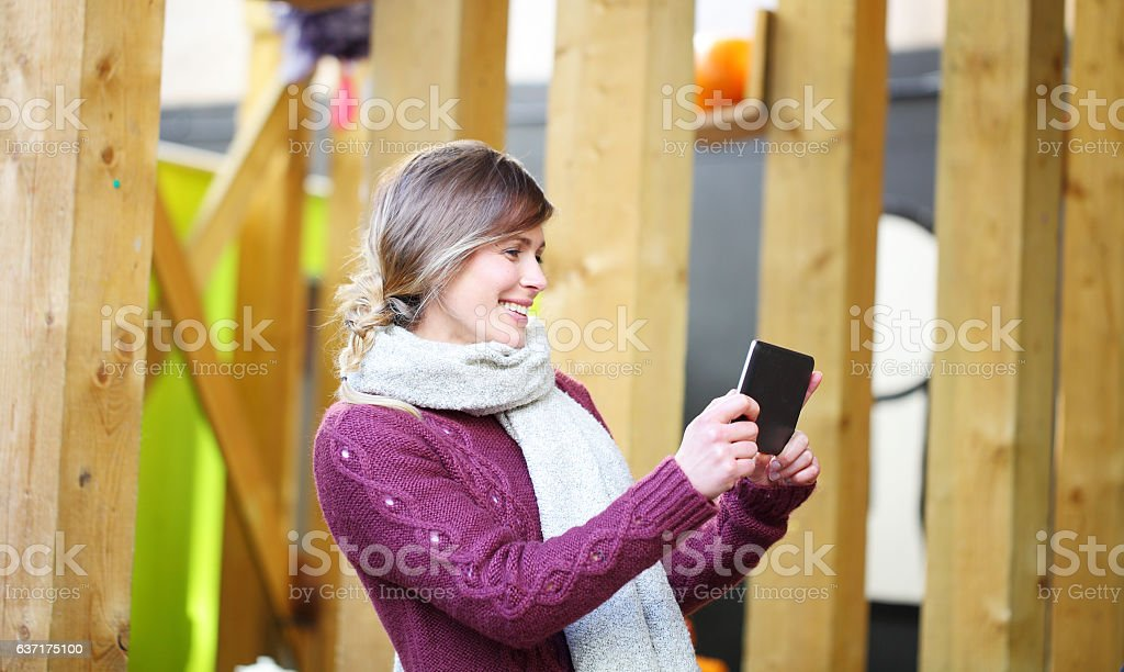 female taking skype call stock photo
