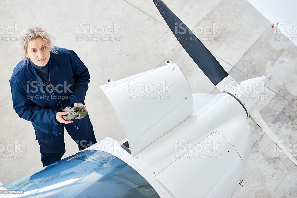Female technician stock photo