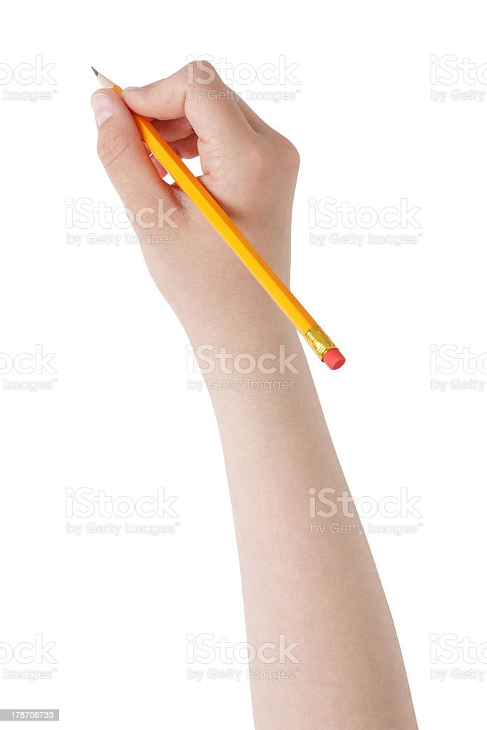 female teen hand holding pencil with eraser top stock photo