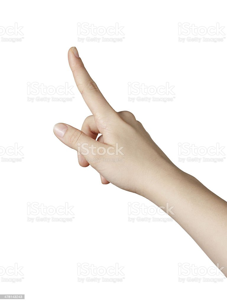 female teen hand pointing or clicking something stock photo
