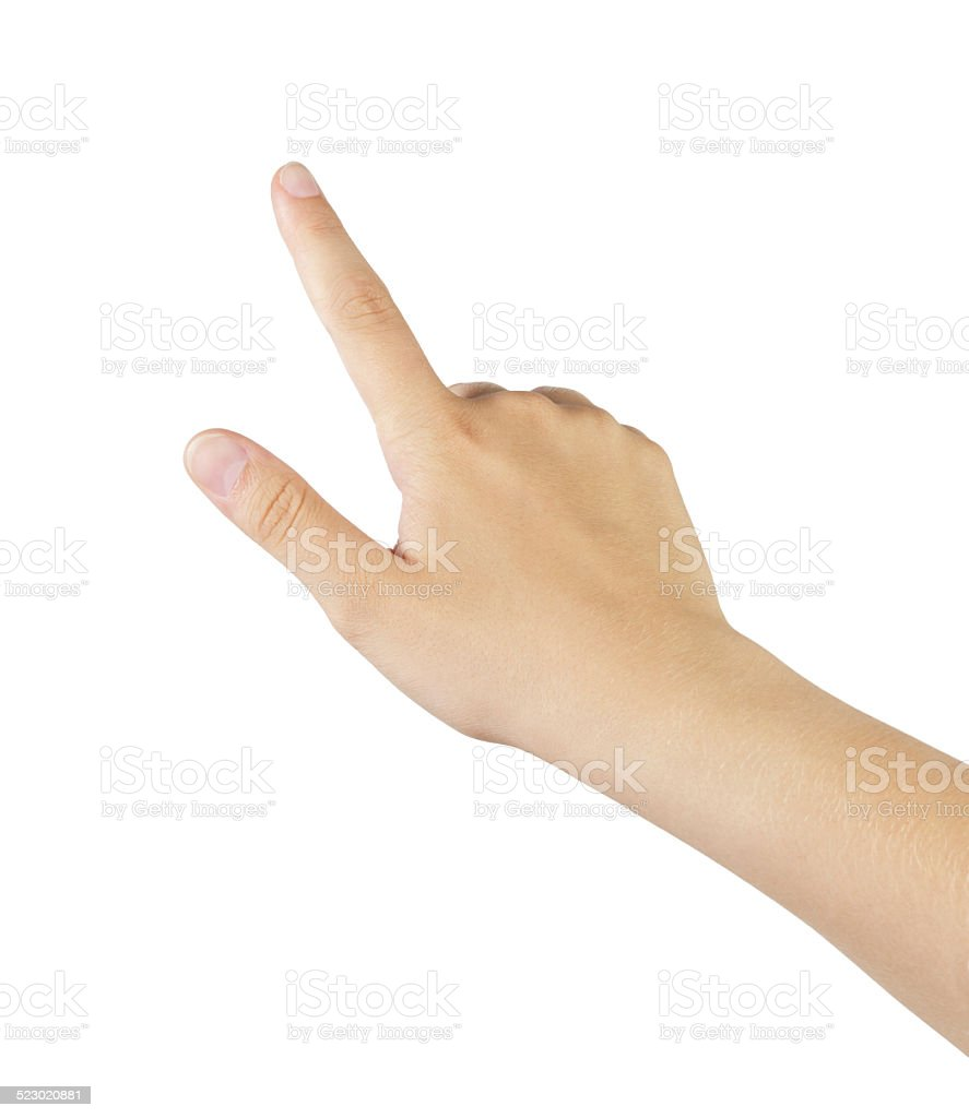 female teen hand touch gesture for tablet or smartphone stock photo