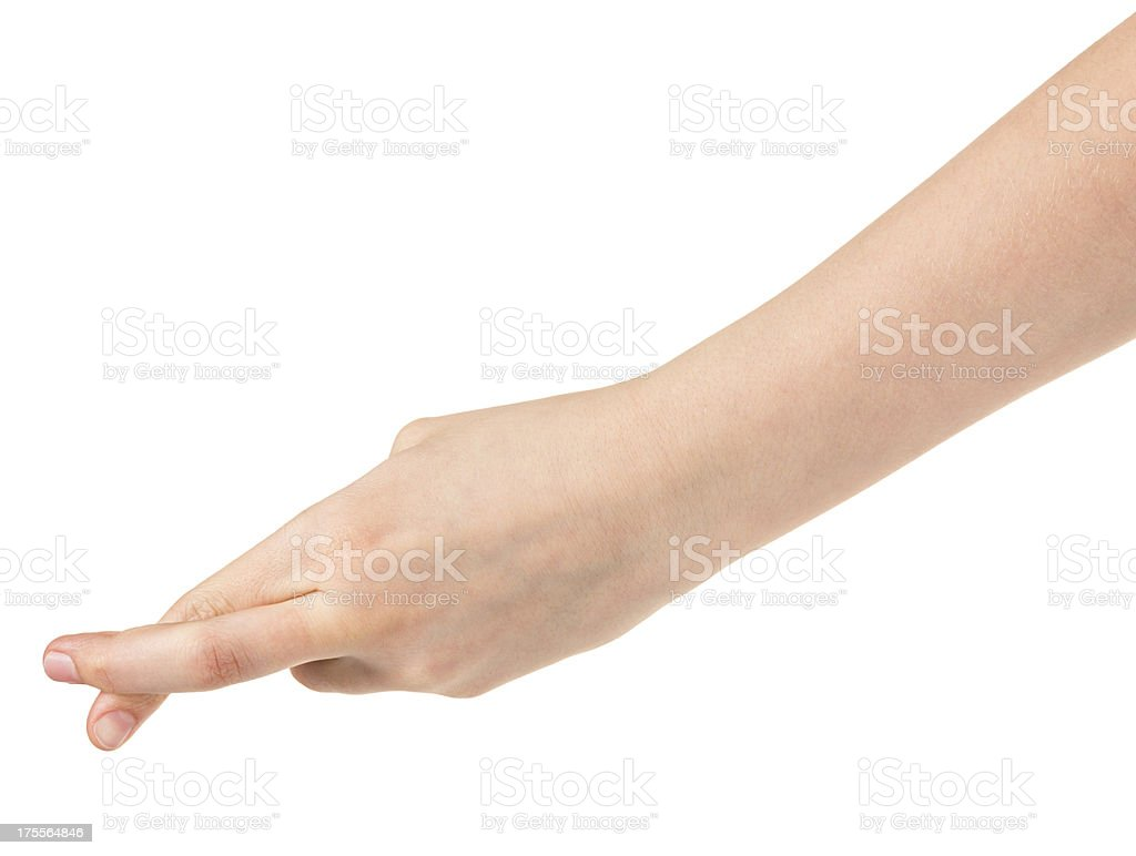 female teen hand with crossed fingers royalty-free stock photo