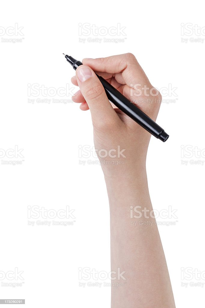 female teen hand writing something with pen or marker stock photo