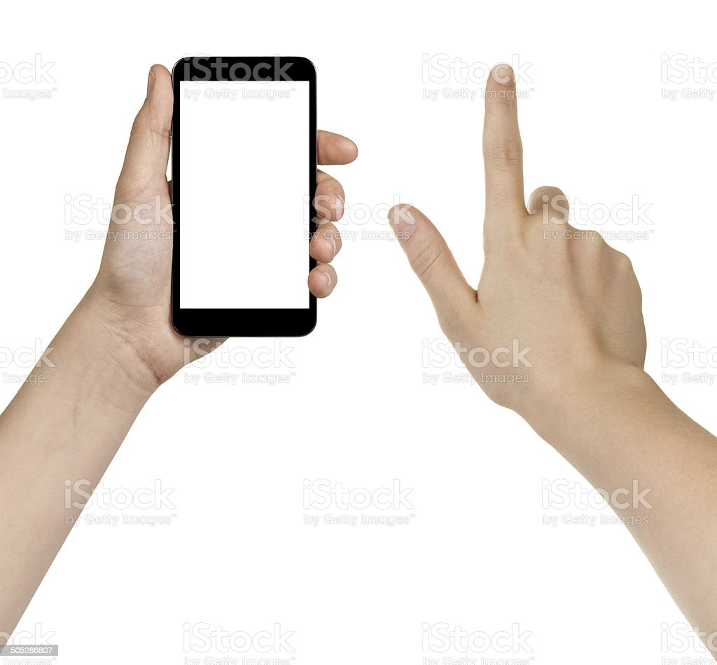 female teen hands using generic smarpthone stock photo