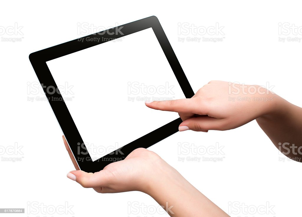 female teen hands using tablet pc with white screen, isolated stock photo
