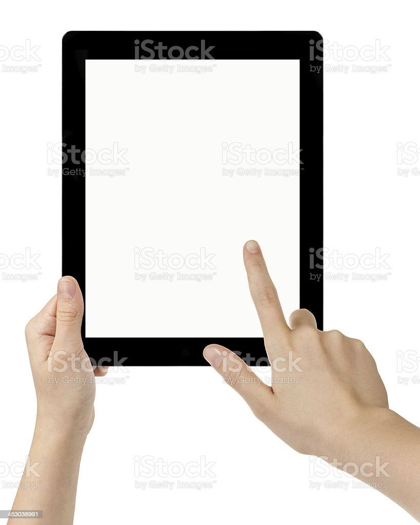 female teen hands using tablet pc with white screen stock photo