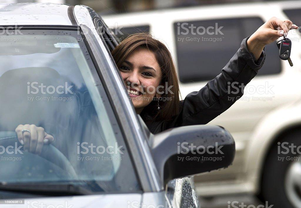 Female teenage hispanic driver royalty-free stock photo