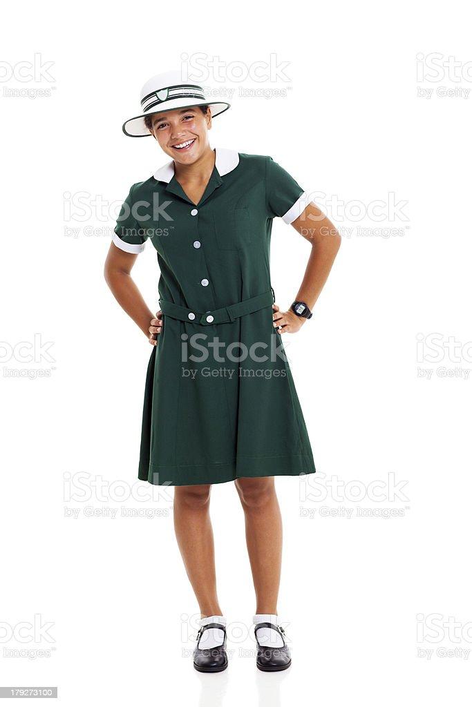 female teenage student on white background royalty-free stock photo