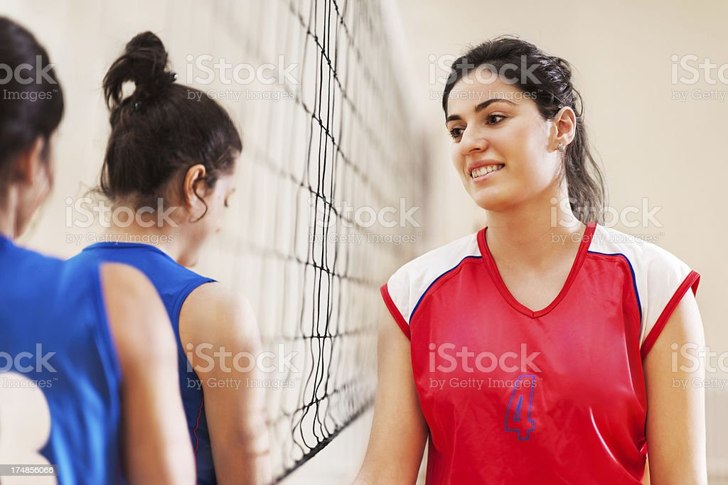 Female teenage volleyball players. royalty-free stock photo