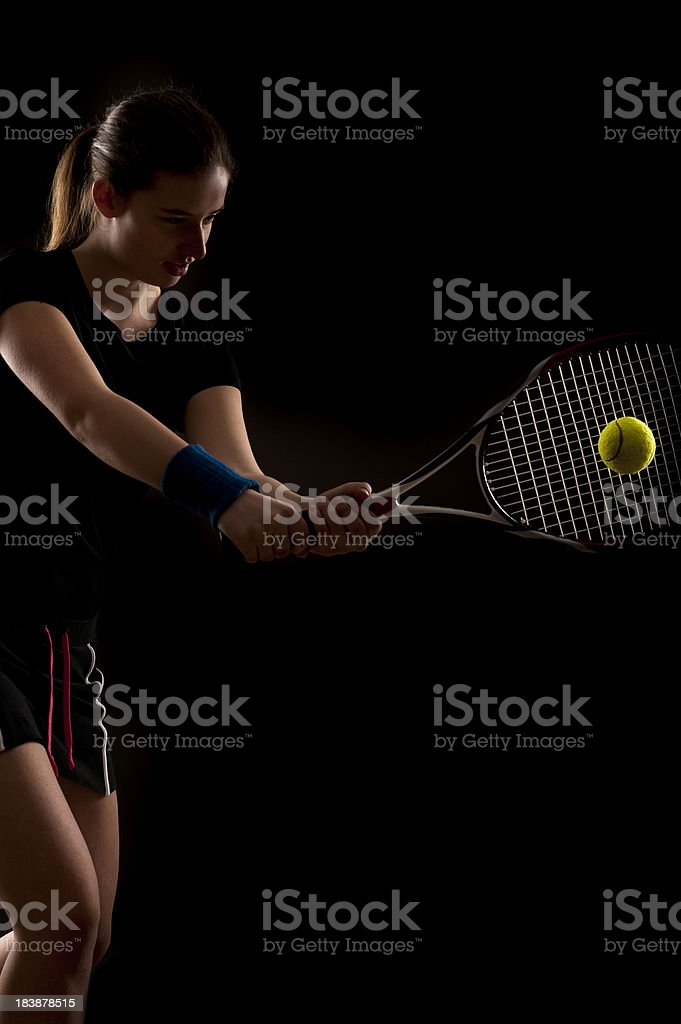 Female tennis player at studio shot royalty-free stock photo