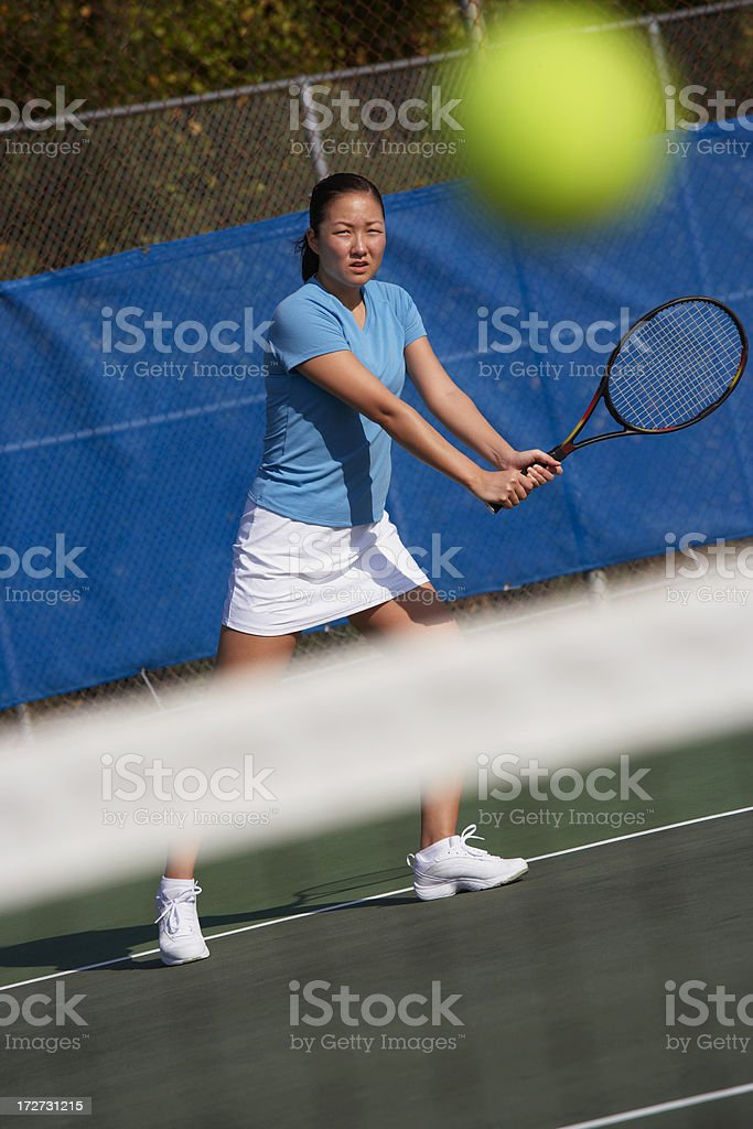 Female Tennis Player Backhand stock photo