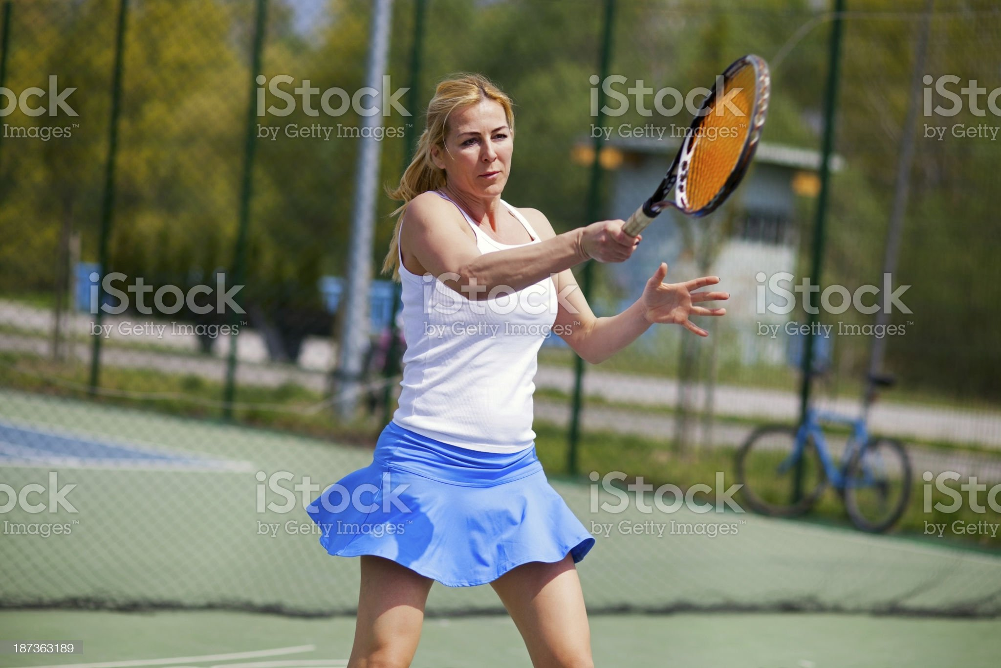 Female tennis player on the court. royalty-free stock photo